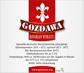 Gozdawa Bierhefe Bavarian Wheat 11 BW11 10g