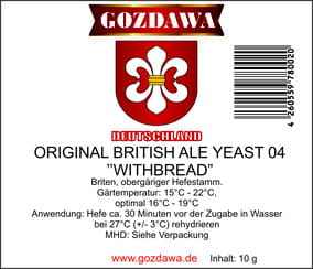 "Gozdawa Bierhefe Original British Ale Yeast 04 ""Withbread"" OBAY 04 10g"