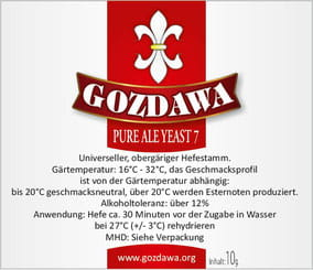 Gozdawa Bierhefe Pure Ale Yeast 7 PAY7 10g