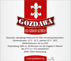 Gozdawa Bierhefe Old German Altbier 9 OGA9 10g
